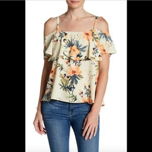 NEW $48 Bobeau Cold Shoulder Blouse Yellow Small